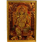 Ganesh Desk Dashboard Gold Acrylic Frame Art Hindu Altar Yoga Meditation Prosperity Accessory Gift
