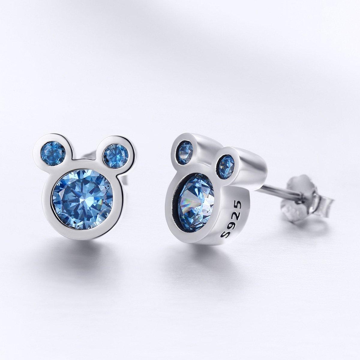dd1b27f33 Amazon.com: BAMOER Mouse Stud Earrings Sterling Silver Blue Birthstone Earrings  Stud for Women Birthday Gift: Jewelry