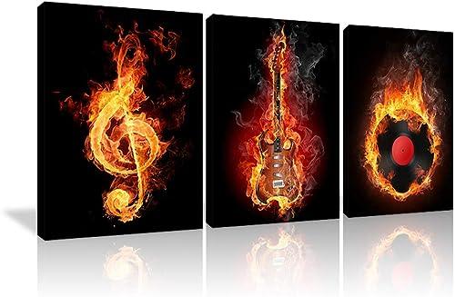 Fire Music Wall Art Guitar Abstract Canvas Prints Home Decor