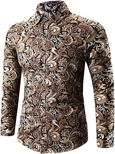 (Men's Long Sleeves Vintage Tribal Paisley Floral Print Casual Dress Shirt, Brown, US M/40 = Tag 3XL)