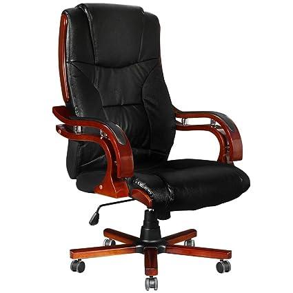 VidaXL Black Leather Office Chair High Back Modern Tilt Recliner Ergonomic  Swivel Base