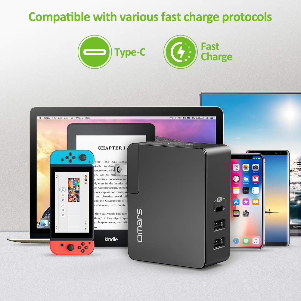Omars 41W Wall Charger ,3-Port USB Charger Type C With Power Delivery 29W and USB A 5V/2.4A with Smart IC Fast charging for Macbook/MacBook Pro/ Nintendo Switch/ iPh-one X/8/8 Plus,Samsung Galaxy S9/S9Plus/S8/S8 Plus/ iPad/iPad pro/iPad min