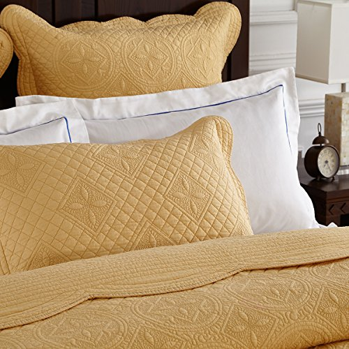 - Calla Angel W0-ODN2-IMHT Sage Garden Luxury Pure Cotton Quilted Pillow Sham,Gold,Euro