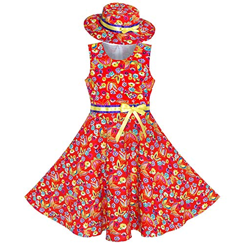 2 Pieces Girls Dress Red Butterfly Sun Hat Bow Tie Flower Size ()