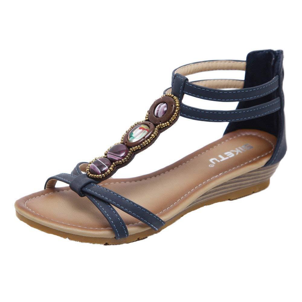 Bohemian Sandals,Boomboom Summer Beach Holiday Women Teens Peep Toe Elastic Bohemia Shoe Flat Sandals (Navy,US 8)
