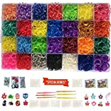 Loomy Bands 12,000 Rainbow Rubber Bands Refill Set - Loom Bands Organizer, 28 Colors, over 500 Clips, 50 Beads, 15 Charms, 4 Plastic Hooks