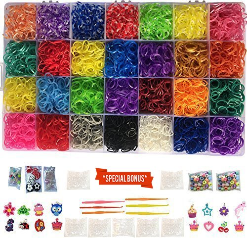 Loomy Bands 12,000 Rainbow Rubber Bands Refill Set - Loom Bands Organizer, 28 Colors, over 500 Clips, 50 Beads, 15 Charms, 4 Plastic Hooks (Plastic Charm Bracelets)