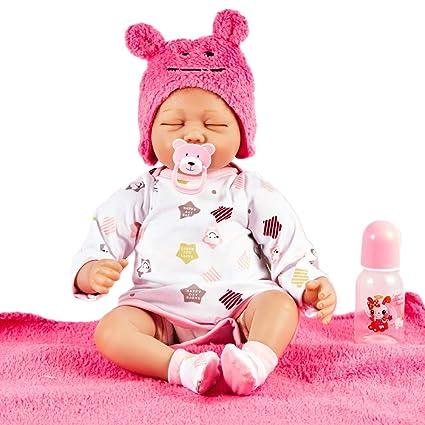 AFYH Reborn bebé, Muñeca de Silicona para niños de 55 cm con Vestido ...