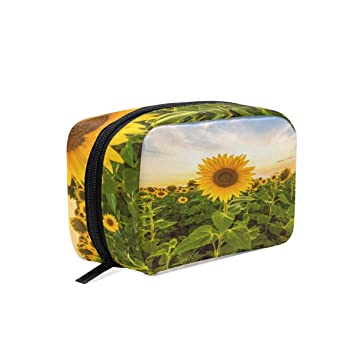 e4c5dce47b0e Amazon.com: Yellow Sunflower Field Landscape Cosmetic Bag Travel ...