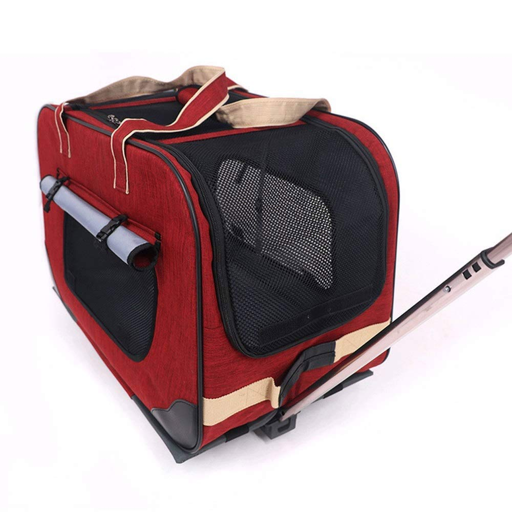 FANQIECHAODAN Soft Sided Pet Carrier,Pet Trolley Case with Detachable Wheels,Dogs and Cats (color   Red)