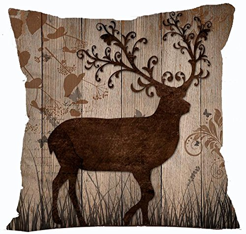 Family Tree Throw (Retro Vintage Wood Grain Background Wildlife Tree Forest Bush Bucks Moose Elk Cotton Linen Throw Pillowcase Personalized Cushion Cover NEW Home Office Decorative Square 18 X 18 Inches)