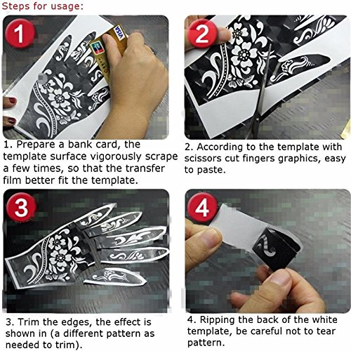 Jual Parth Impex Henna Tattoo Stencils Pack Of 16 Self Adhesive