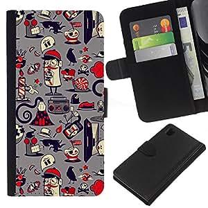 All Phone Most Case / Oferta Especial Cáscara Funda de cuero Monedero Cubierta de proteccion Caso / Wallet Case for Sony Xperia Z1 L39 // Paper Pattern French Grey