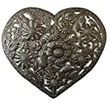 Large Metal Heart Organic Floral Heart, Rustic Modern Design, Handmade in Haiti, Novelty Gift 18″ x 16″ Review