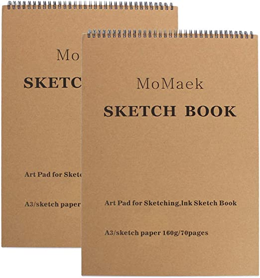 Ink Sketch Book 7.4-Inch by 10-Inch,128-Sheet Sketch Book Pad Drawing Paper Light brown . 105 GMS Portable Coloring Notebook