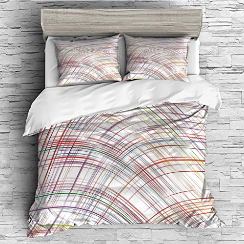 ver 2 Pillow Shams)/All Seasons/Home Comforter Bedding Sets Duvet Cover Sets for Adult Kids/Double/Colorful,Abstract Curved Thin Stripes Color Line Concept Art Crosswise Scribble H ()