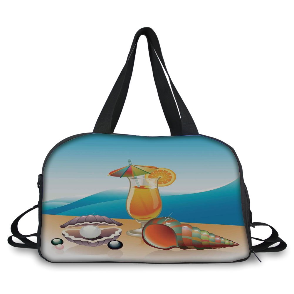 Travelling bag,Pearls Decor,Seashells and Glass of Orange Juice with Sea Summer Beach Digital Prints Decorative,Blue Orange Purple ,Personalized