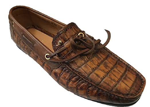 Men's Brown Croc Embossed Leather Loafers Size 5.5