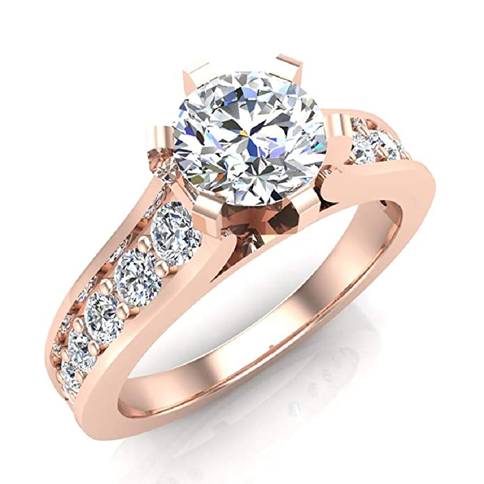 Amazon.com: Anillo de compromiso de diamante brillante ...