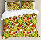 Vegetables King Size Duvet Cover Set by Lunarable, Eggplant Squash Corn Carrot Tomatoes Kale Botany Plants Supper Health Cartoon, Decorative 3 Piece Bedding Set with 2 Pillow Shams, Multicolor