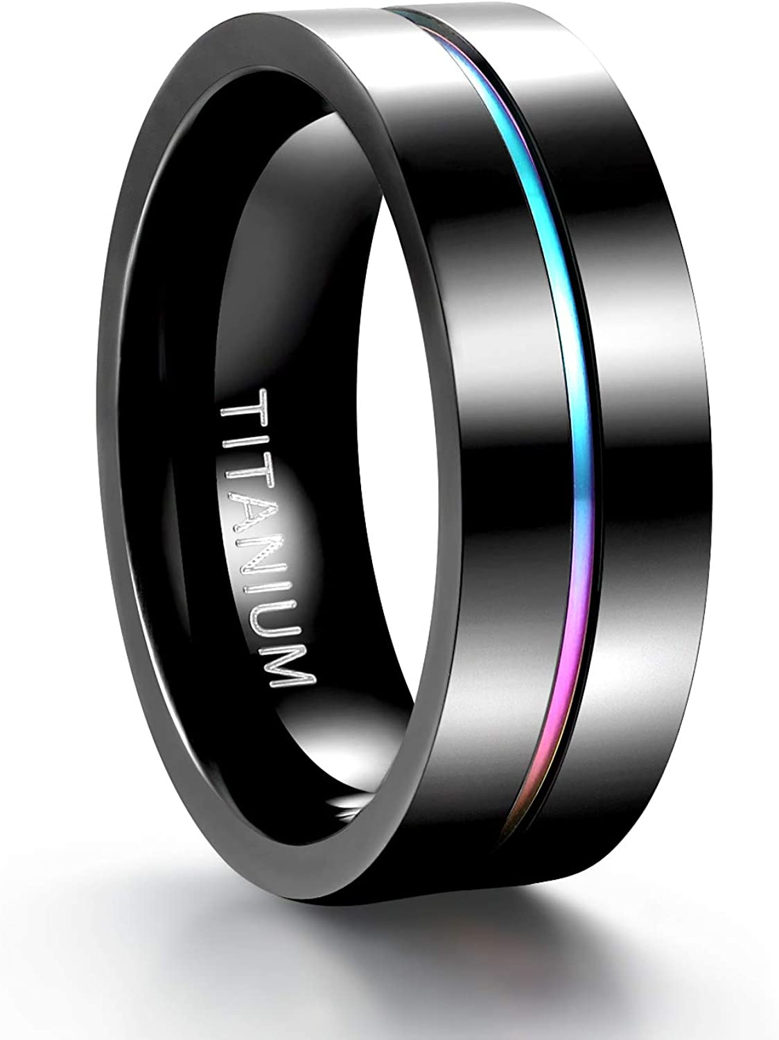 TIGRADE 5mm 7mm Rainbow Titanium Ring Colorful Thin Groove Wedding Band Couple Rings Size 5-13