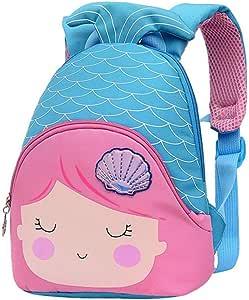 Xlabor Mochila infantil con diseño de sirena, para guardería, con cinturón en el pecho, para niños y niñas