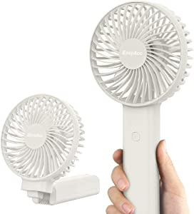 Handheld Fan, EasyAcc 3350mAh Battery Fan 2020 Upgraded Portable Fan with Unique One Touch Power Off USB Desk Fan 3-17 Hours 4 Speeds Strong Winds Personal Cooling Fan for Home Office Outdoor-White