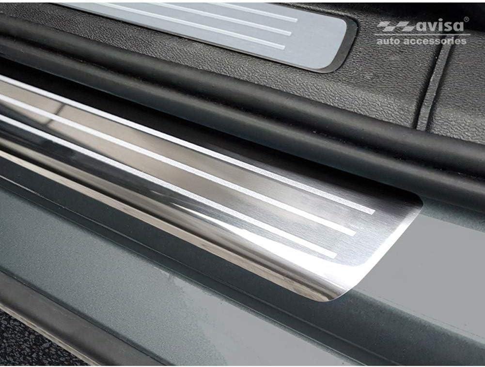 Lines Battitacco in Acciaio Inox Compatibile con Volvo V60 II 2018 Avisa 2//17002 4 Pezzi