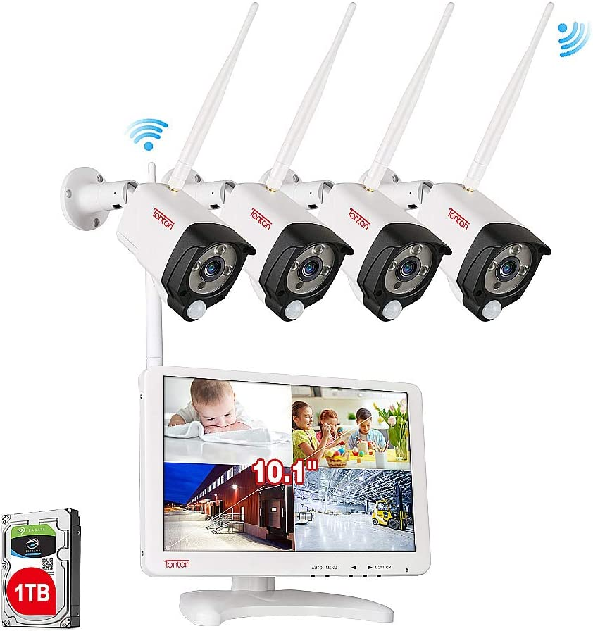 Audio Recording Tonton Wireless All-in-One Full HD 1080P Security Camera System with 10.1 IPS Monitor,4CH WiFi NVR with 1TB HDD and 4PCS 1080P 2.0 MP Outdoor Indoor Bullet IP Cameras with PIR Sensor