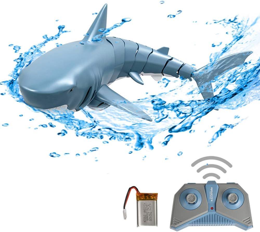 GoolRC Mini RC Tiburón Juguete de Control Remoto Nadar Juguete Bajo el Agua RC Barco Piscina de Juguete de Parodia de Barco de Carreras Eléctricas (con Batería)