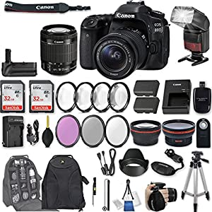 """Canon EOS 80D DSLR Camera with EF-S 18-55mm f/3.5-5.6 IS STM Lens + 2Pcs 32GB Sandisk SD Memory + Automatic Flash + Battery Grip + Filter & Macro Kits + Backpack + 50"""" Tripod + More"""