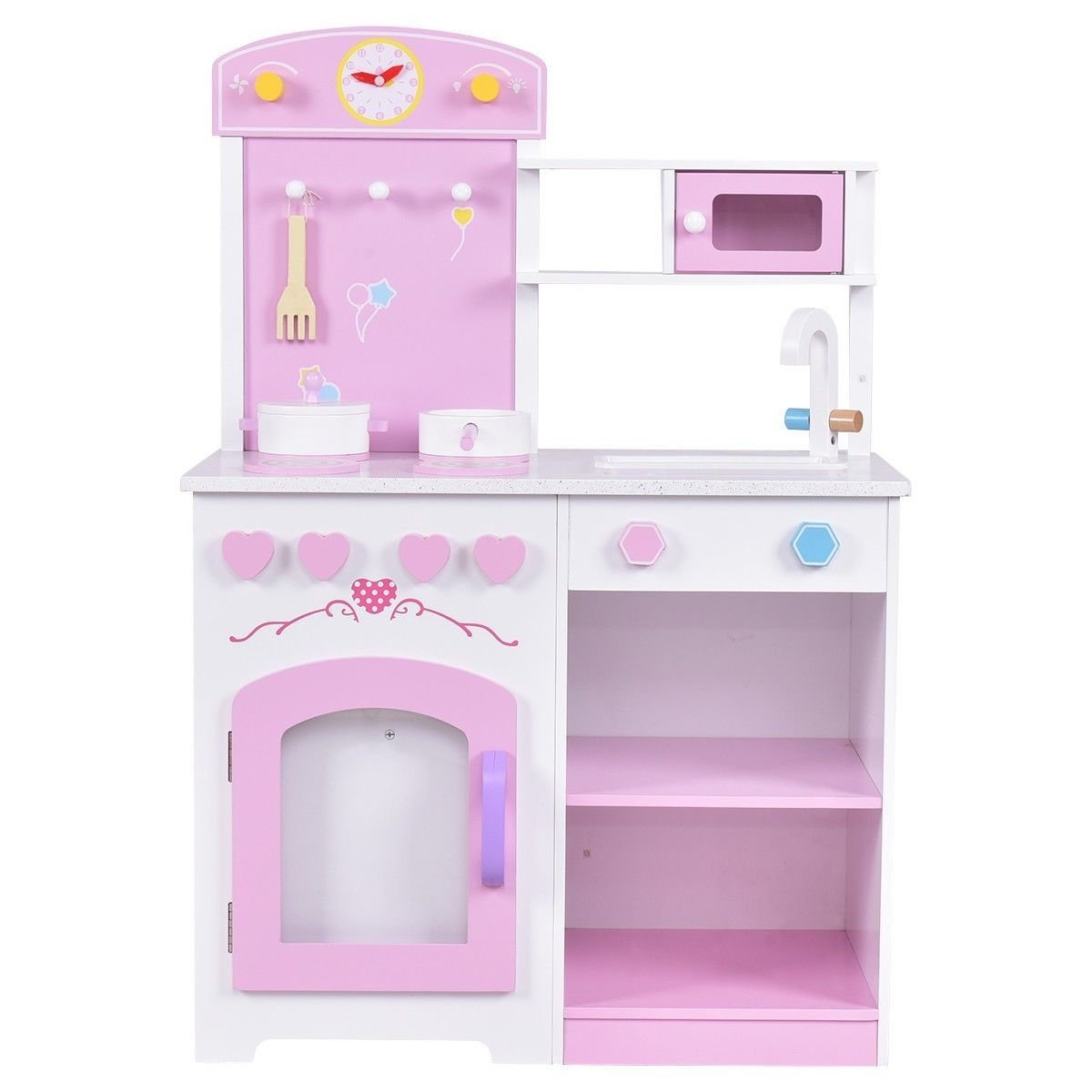 2 in 1 Wood Kids Toy Kitchen Cooking Pretend Play Set with Chair Pink for Girls
