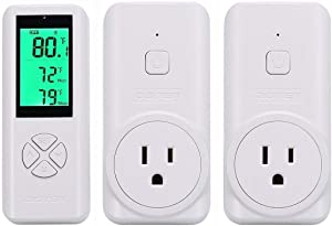 DIGITEN Wireless Temperature Controller, Remote Control Detect Temp, Digital Remote Thermostat, Plug-in Thermostat Outlet, Built-in Sensor(1 Controller can Work W/ 2 Receiver), Widely Use Thermostat