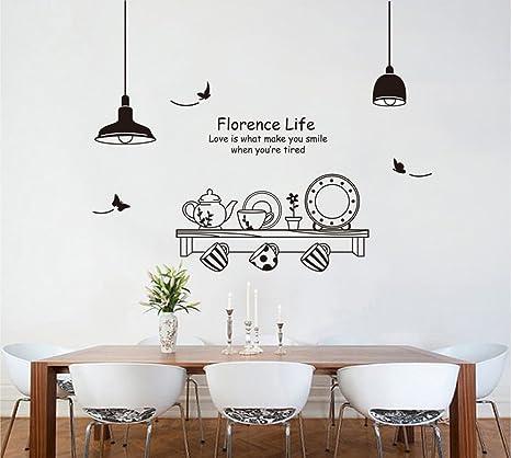 ufengke® Personalisierte Geschirr Topf Tasse und Untertasse Wandsticker,  Küche und Esszimmer Entfernbare Wandtattoos Wandbilder