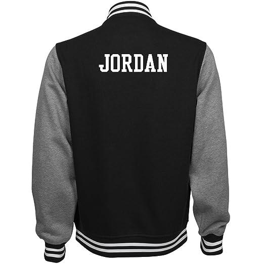 d1cef5bd7963fa ORG Jordan Comfy Sports Fan Gear  Unisex Fleece Letterman Varsity Jacket   Clothing