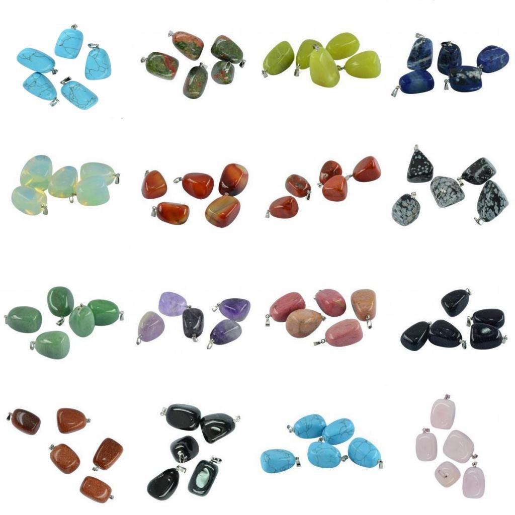 Rose Quartz 5pcs Irregular Shape Gemstone Beads Pendants Crystal Charms for Necklace Bracelet Jewelry Making