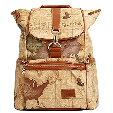 B.ANGEL Retro Map Women Fashion Soft PVC Leather Waterproof Backpack Schoolbag