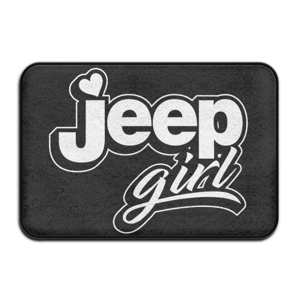 Funny Jeep Girl Design Black Bath Mat - 1 Piece Memory Foam Shower Spa Rug 18x30 Bathroom Kitchen Floor Carpet Home Decor With Non Slip Backing - 3 Sizes