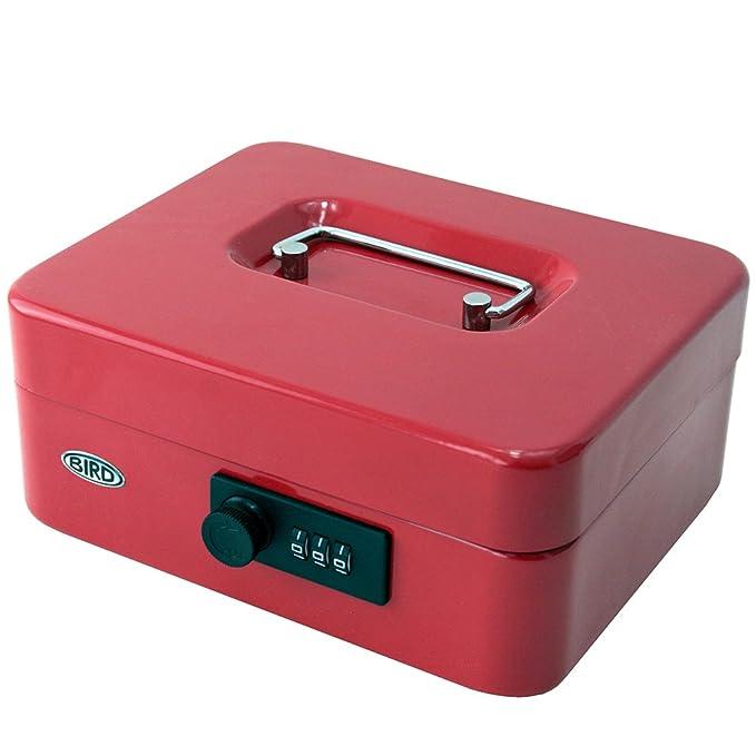 Caja para dinero de 8 pulgadas (20,3 cm) con cerradura de combinación y bandeja extraíble con 5 secciones para monedas (color rojo): Amazon.es: Oficina y ...