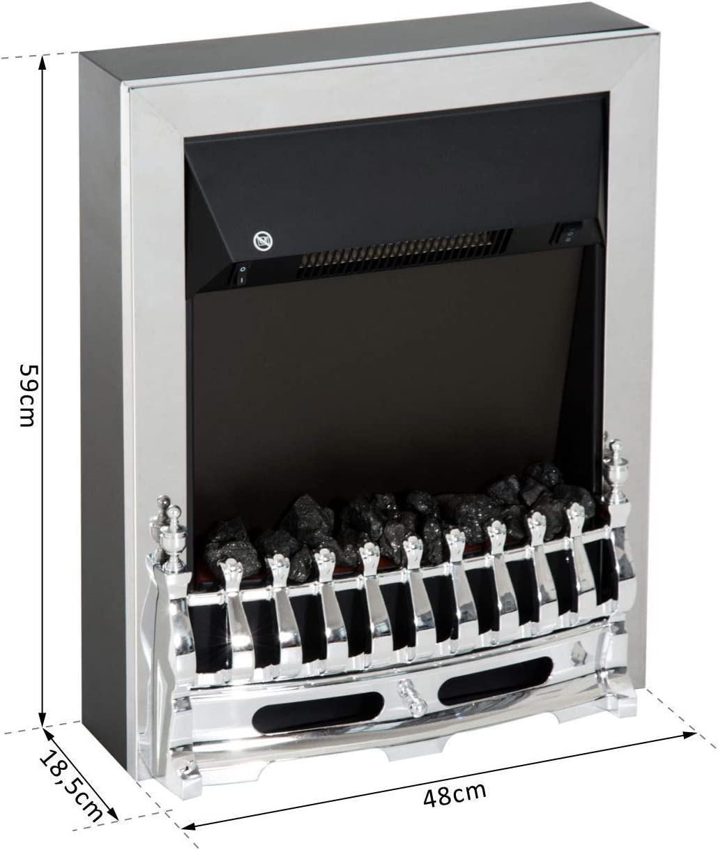HOMCOM Elektrokamin Kaminofen 2000W Elektrischer Kamin Wandkamin Flammeneffekt Silber