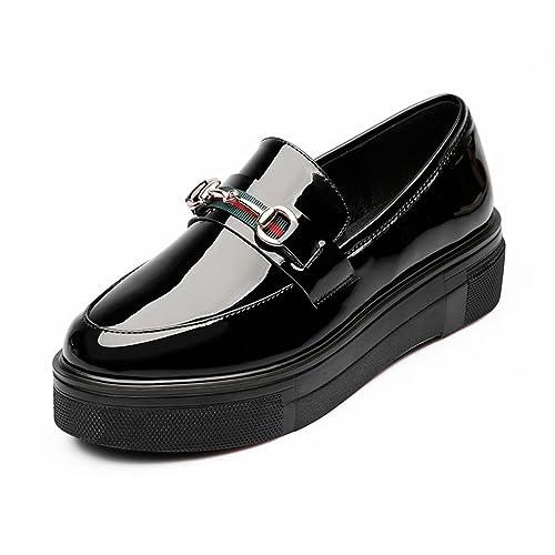 Mocasines de mujer Plataforma de cuero de charol metálico Punta redonda Ocio Ascensor Suela blanda Comodidad fácil Slip-On Negro 37 Zapatos de cuero de UE: ...