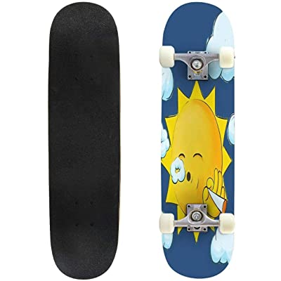 "Cuskip Stoner Sun Skateboard Complete Longboard 8 Layers Maple Decks Double Kick Concave Skate Board, Standard Tricks Skateboards Outdoors, 31""x8"" : Sports & Outdoors"