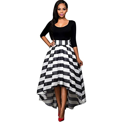 eb90e92ab2d7 Ghazzi Women Dresses, Formal Prom Ball Gown Dress Bow Striped Mini Dress  for Ladies Party Evening Wedding Swing Dress at Amazon Women's Clothing  store: