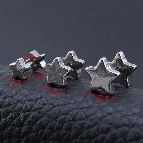 ZeSen Jewelry 4 Pares 16g Pendientes Falsas Dilataciones cartílago de la Concha del oído del Perno Prisionero del Pentagram de la Estrella de Acero ...