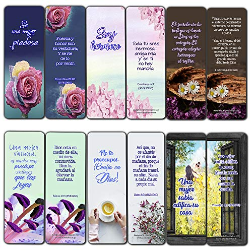 Spanish Devotional Bible Verses for Women Bookmarks (60 Pack) - Perfect Giveaways for Sunday School and Ministries Designed to Inspire -