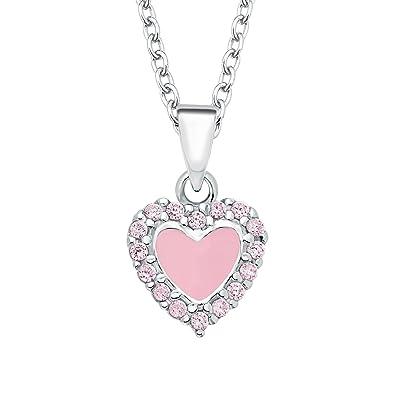 7f3e888ea4dc Prinzessin Lillifee Kinder-Kette mit Anhänger Herz 925 Silber rhodiniert  Zirkonia rosa  Amazon.de  Schmuck