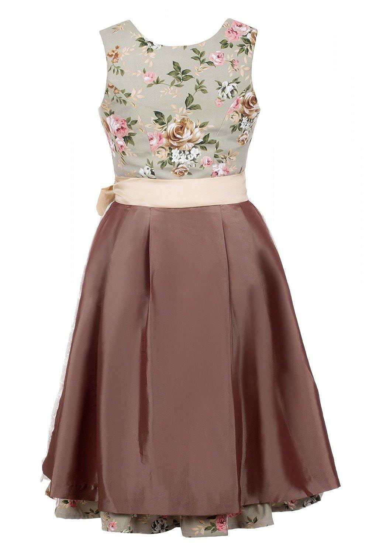 Edles. Traje tirolés de 3 piezas, largo medio, diseño de flores, incluye blusa y delantal, tallas 32 a 52