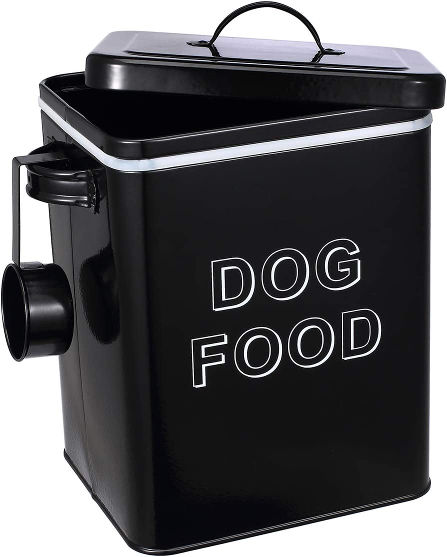 Pethiy airtight Dog Treat Container bin and Dog Food Storage Tin with Lid with Handle |4-5 lbs Capacity | Serving Scoop Included -Black