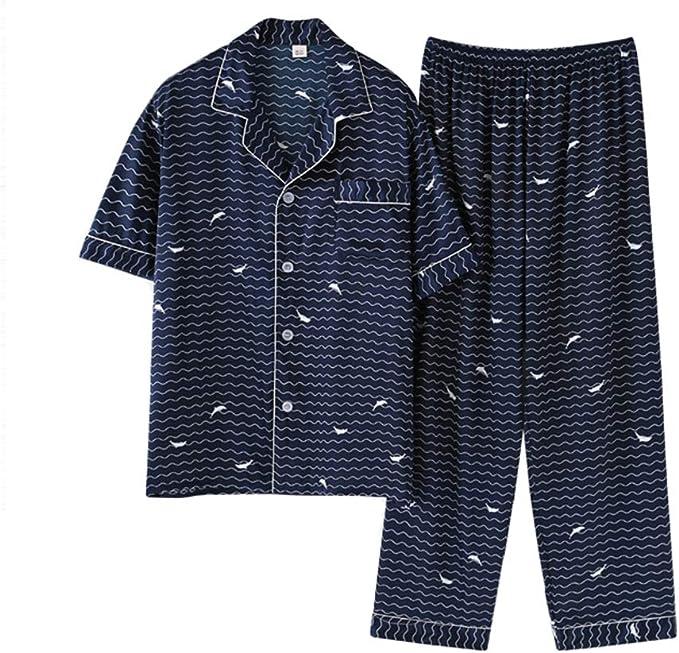 Rojeam Pijama de satén de Seda para Hombres Ropa de Dormir de Manga Corta Conjunto de Pijama de 2 Piezas Loungewear: Amazon.es: Ropa y accesorios