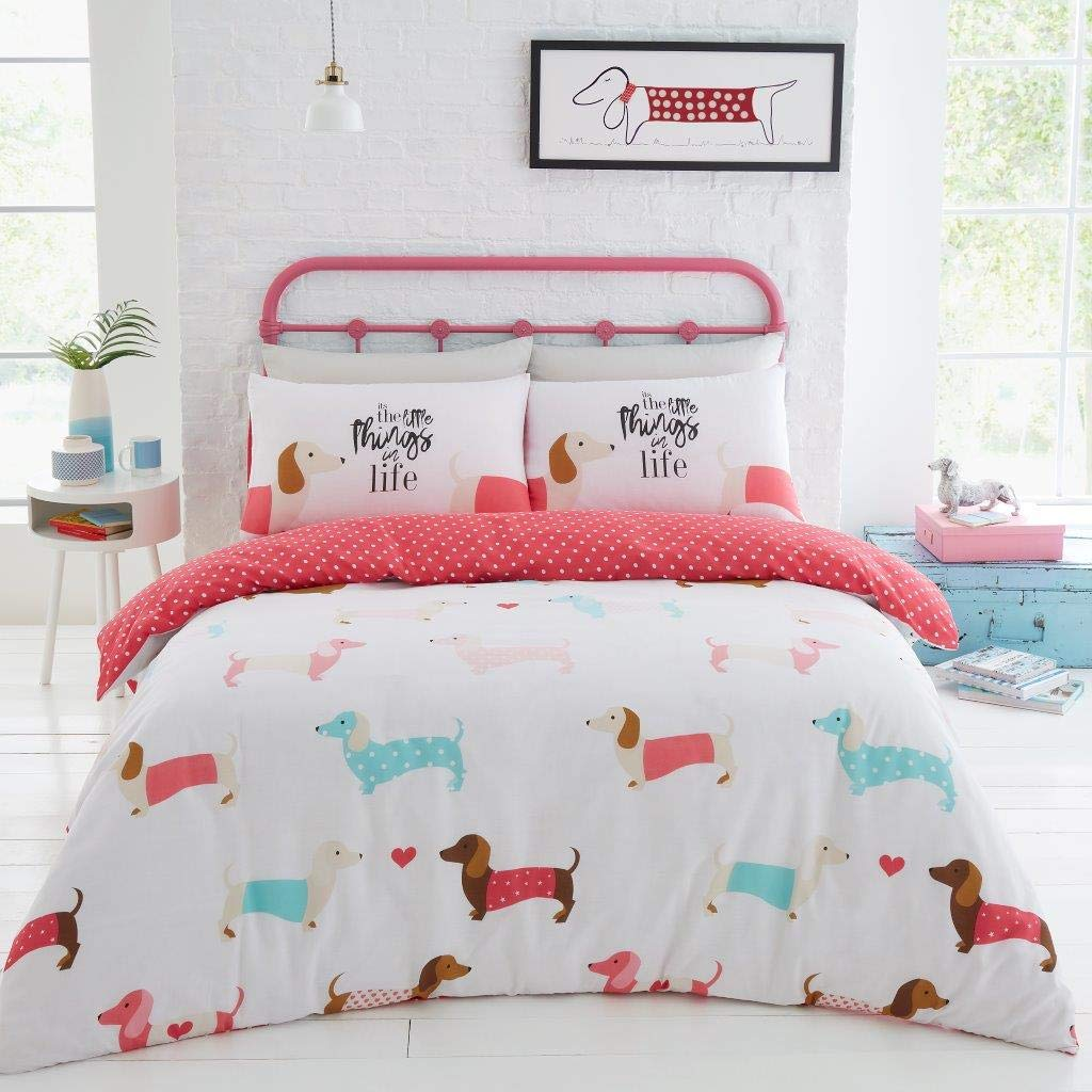 Luxury SAUSAGE DOG  Duvet Cover Bedding Set with Pillow Cases DOUBLE